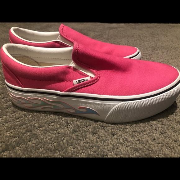 Vans Shoes | Hot Pink Platform Flame